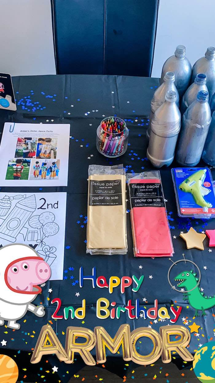 Jetpack Crafting Activity + Supplies from a George Pig in Space Birthday Party on Kara's Party Ideas | KarasPartyIdeas.com (5)