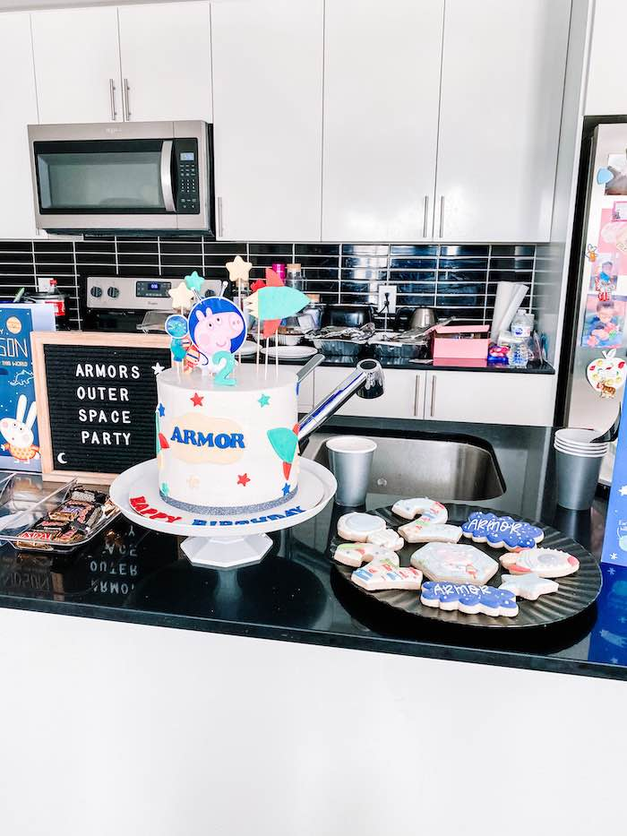 Cake + Dessert Table from a George Pig in Space Birthday Party on Kara's Party Ideas | KarasPartyIdeas.com (15)