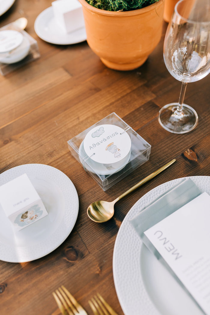 Table Setting + Favor from a Hermes Greek God Inspired Christening Party on Kara's Party Ideas | KarasPartyIdeas.com (29)
