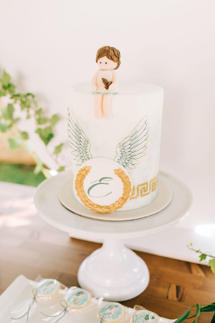 Hermes-inspired Cake from a Hermes Greek God Inspired Christening Party on Kara's Party Ideas | KarasPartyIdeas.com (27)