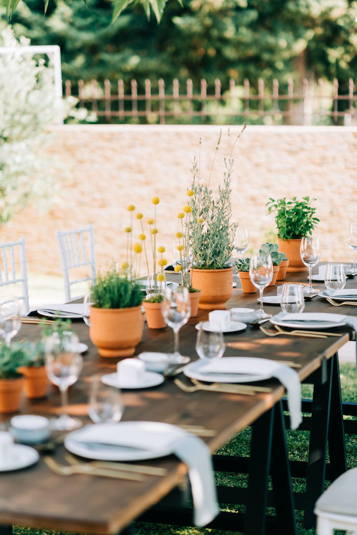 Greek Garden Guest Table from a Hermes Greek God Inspired Christening Party on Kara's Party Ideas | KarasPartyIdeas.com (25)