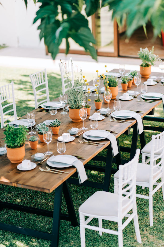Garden Guest Table from a Hermes Greek God Inspired Christening Party on Kara's Party Ideas | KarasPartyIdeas.com (20)