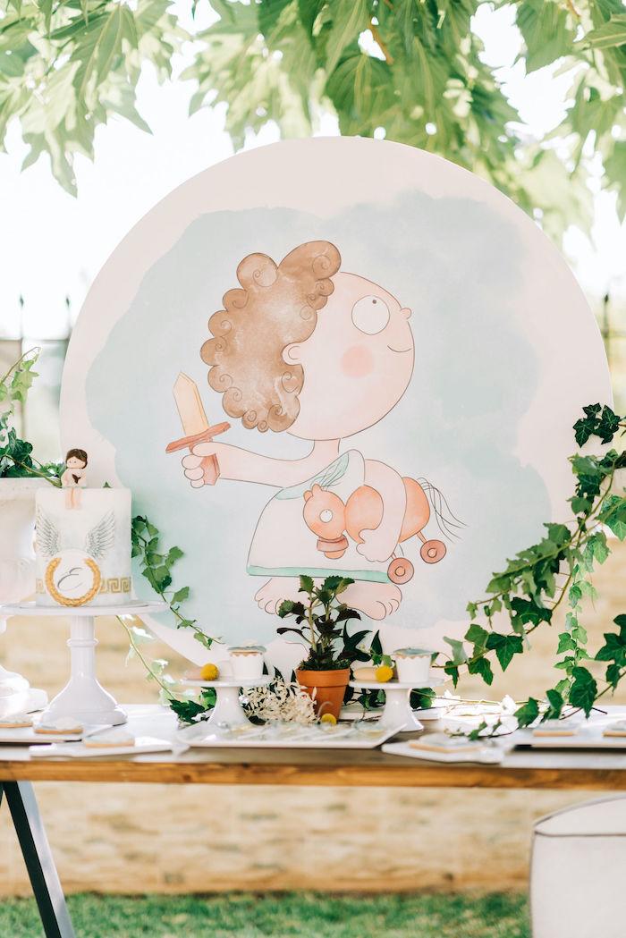 Hermes the Greek God-inspired Dessert Table from a Hermes Greek God Inspired Christening Party on Kara's Party Ideas | KarasPartyIdeas.com (18)