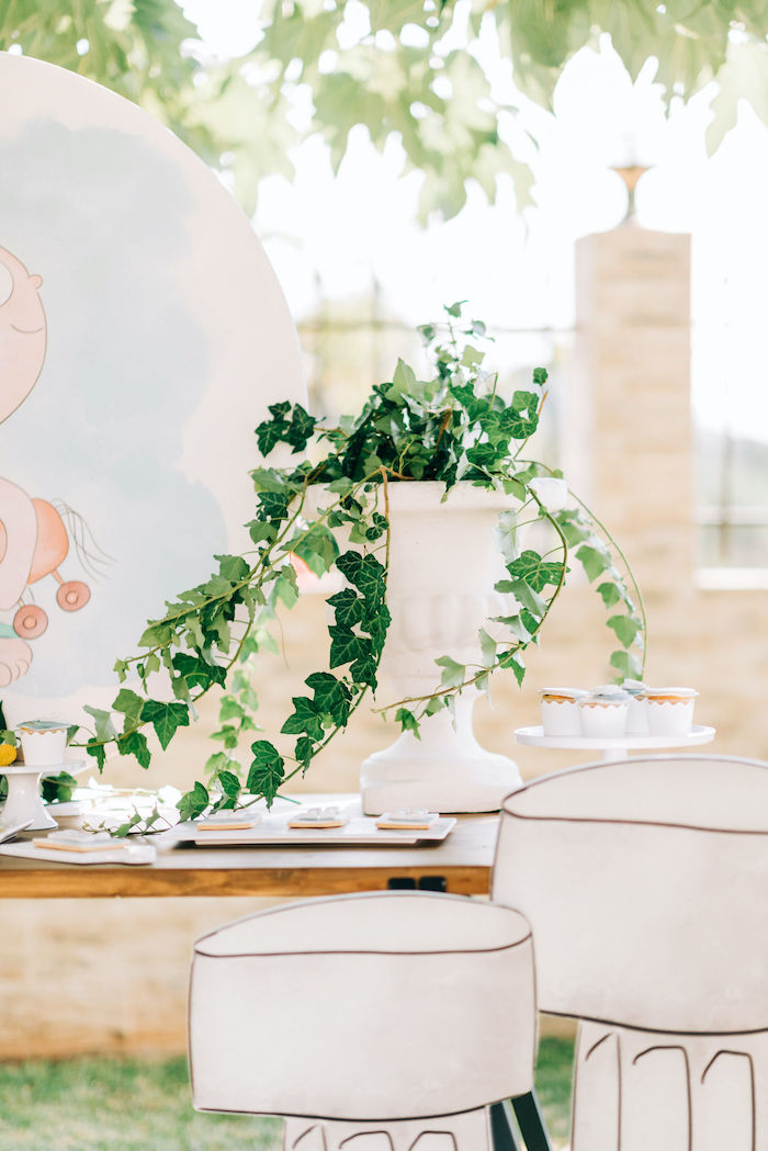 Greek Floral Arrangement from a Hermes Greek God Inspired Christening Party on Kara's Party Ideas | KarasPartyIdeas.com (16)
