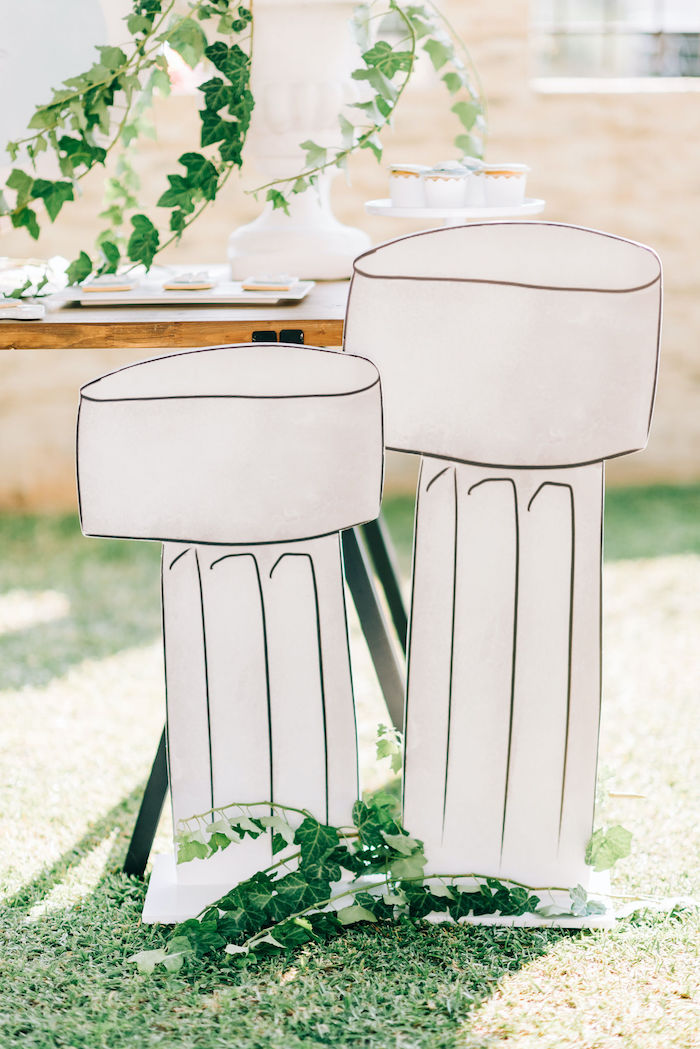 Doric Pillar Standees from a Hermes Greek God Inspired Christening Party on Kara's Party Ideas | KarasPartyIdeas.com (15)