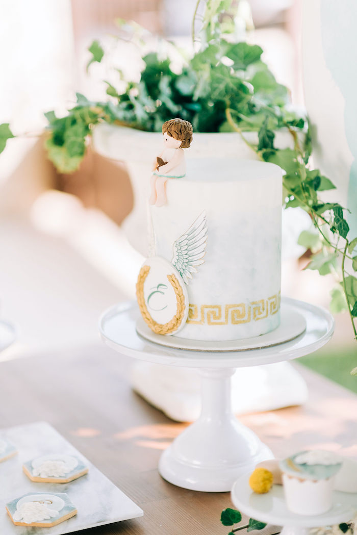 Hermes-inspired Cake from a Hermes Greek God Inspired Christening Party on Kara's Party Ideas | KarasPartyIdeas.com (11)