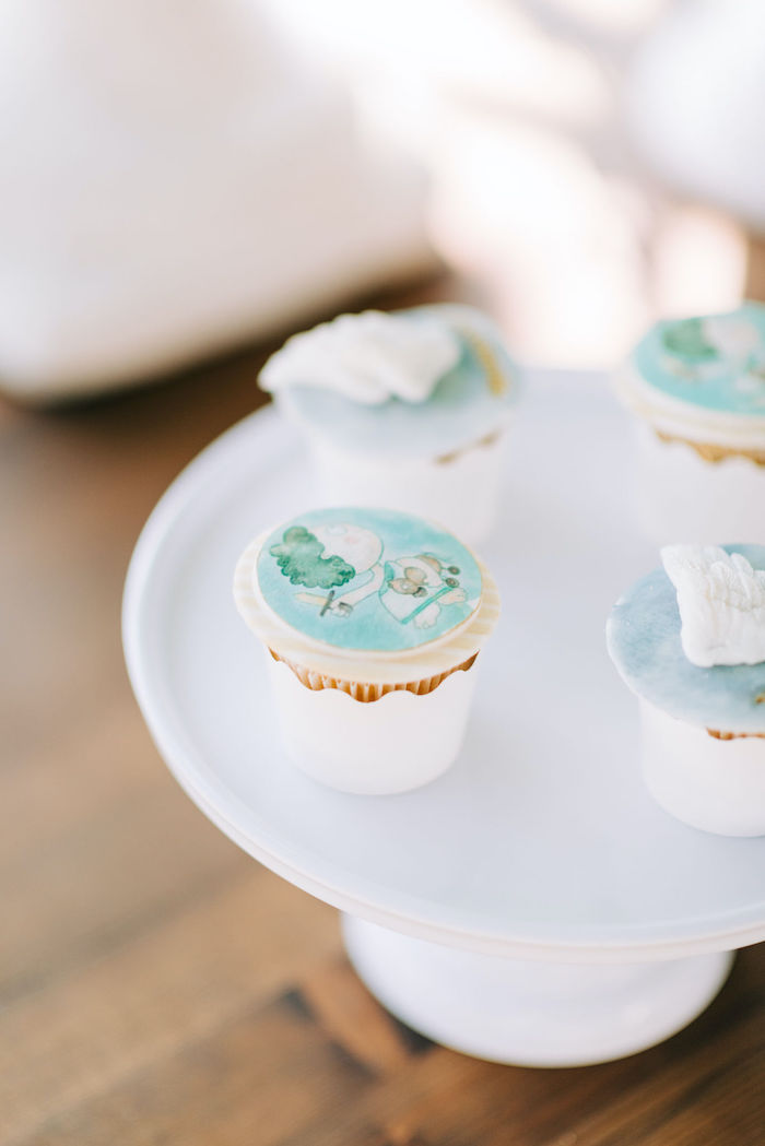 Hermes-inspired Cupcakes from a Hermes Greek God Inspired Christening Party on Kara's Party Ideas | KarasPartyIdeas.com (9)