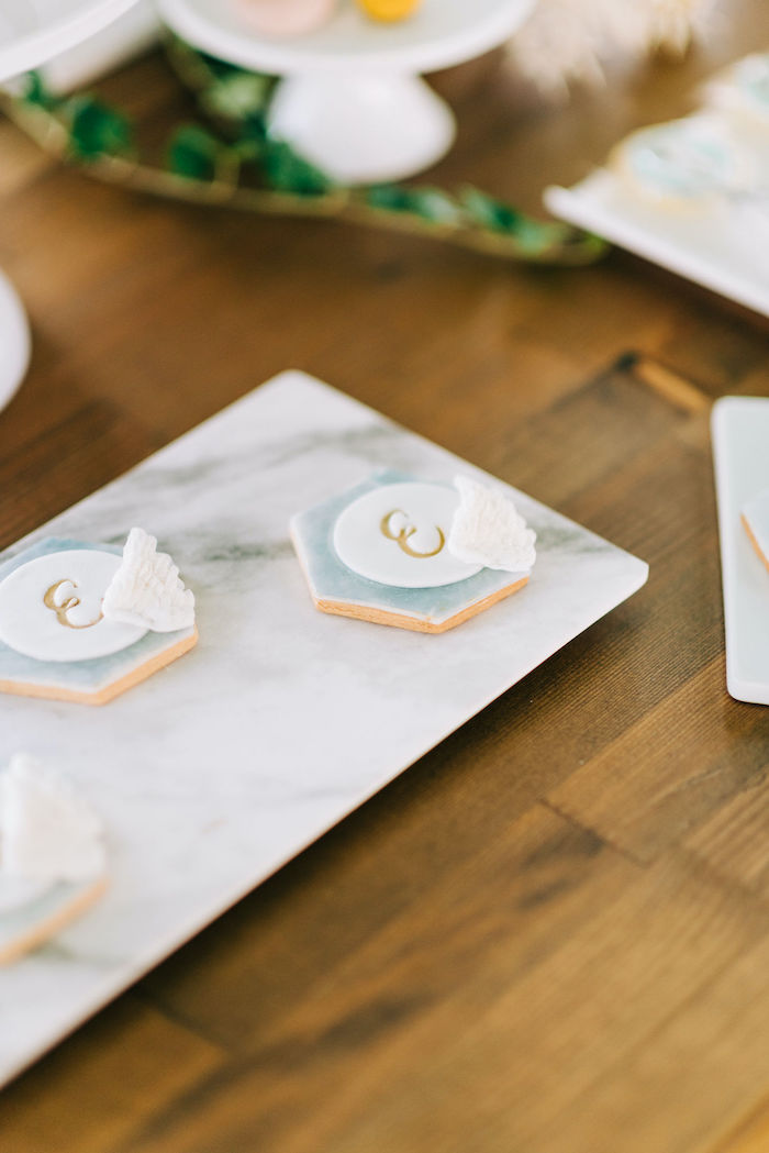Custom Lettered & Winged Cookies from a Hermes Greek God Inspired Christening Party on Kara's Party Ideas | KarasPartyIdeas.com (8)