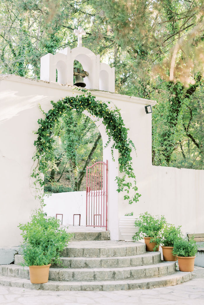 Greenery Arch Entrance from a Hermes Greek God Inspired Christening Party on Kara's Party Ideas | KarasPartyIdeas.com (5)