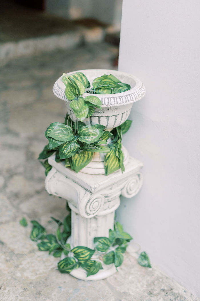 Ionic Pillar from a Hermes Greek God Inspired Christening Party on Kara's Party Ideas | KarasPartyIdeas.com (2)