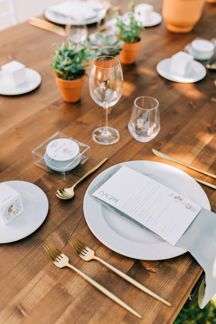 Monochromatic Table Setting from a Hermes Greek God Inspired Christening Party on Kara's Party Ideas | KarasPartyIdeas.com (31)