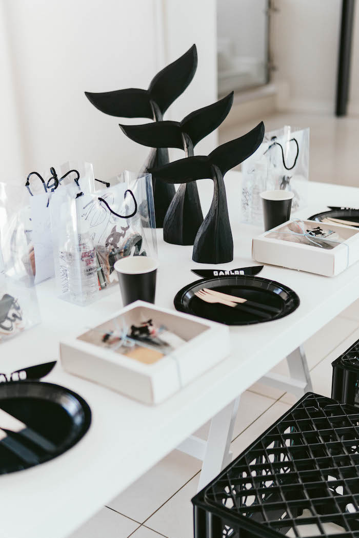 Orca Whale-inspired Guest Table from a Monochromatic Orca Whale Birthday Party on Kara's Party Ideas | KarasPartyIdeas.com (11)