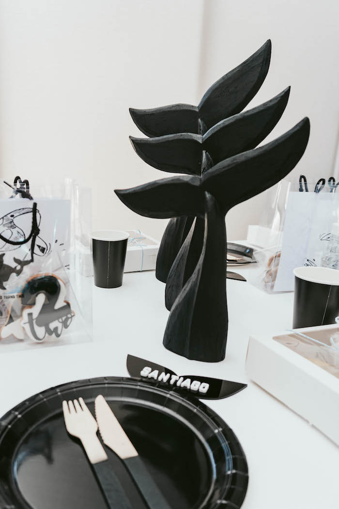 Orca Whale Fin Centerpieces + Table Setting from a Monochromatic Orca Whale Birthday Party on Kara's Party Ideas | KarasPartyIdeas.com (10)