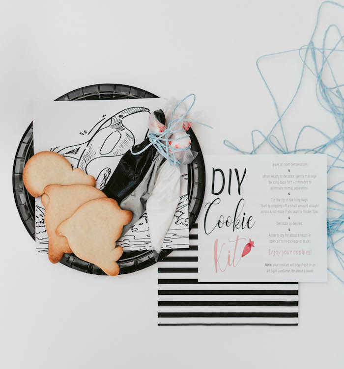 Orca Whale DIY Cookie Kit from a Orca Whale-inspired Table Setting from a Monochromatic Orca Whale Birthday Party on Kara's Party Ideas | KarasPartyIdeas.com (9)