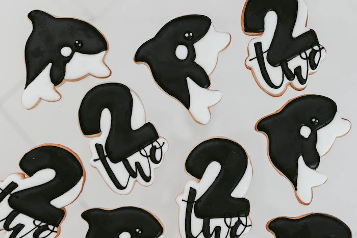 Orca Whale Cookies from a Monochromatic Orca Whale Birthday Party on Kara's Party Ideas | KarasPartyIdeas.com (4)
