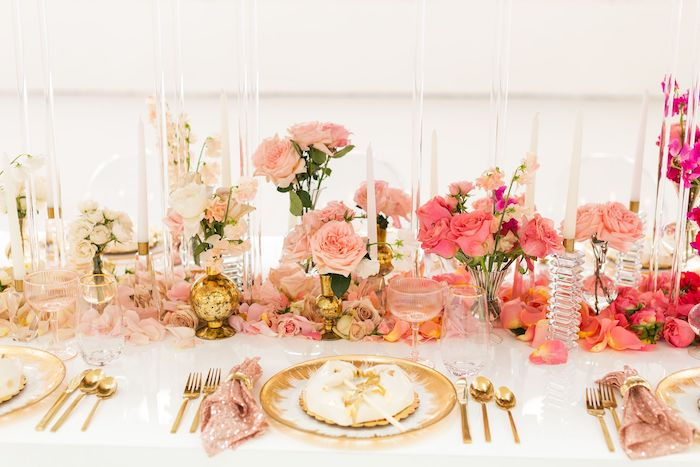 Glam Table Setting from an Ombré Galentines on Kara's Party Ideas | KarasPartyIdeas.com (28)
