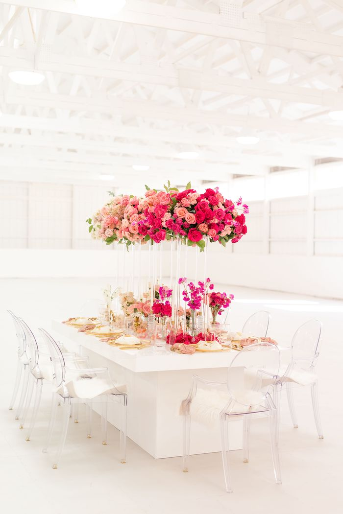 Floral Glam Guest Table from an Ombré Galentines on Kara's Party Ideas | KarasPartyIdeas.com (26)