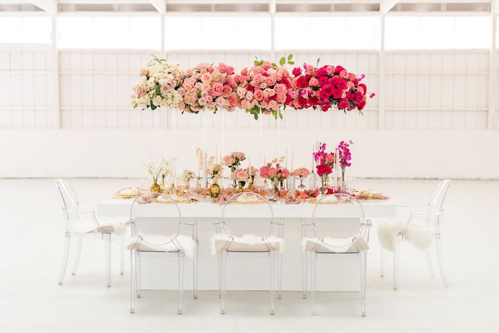 Floral Glam Guest Table from an Ombré Galentines on Kara's Party Ideas | KarasPartyIdeas.com (14)