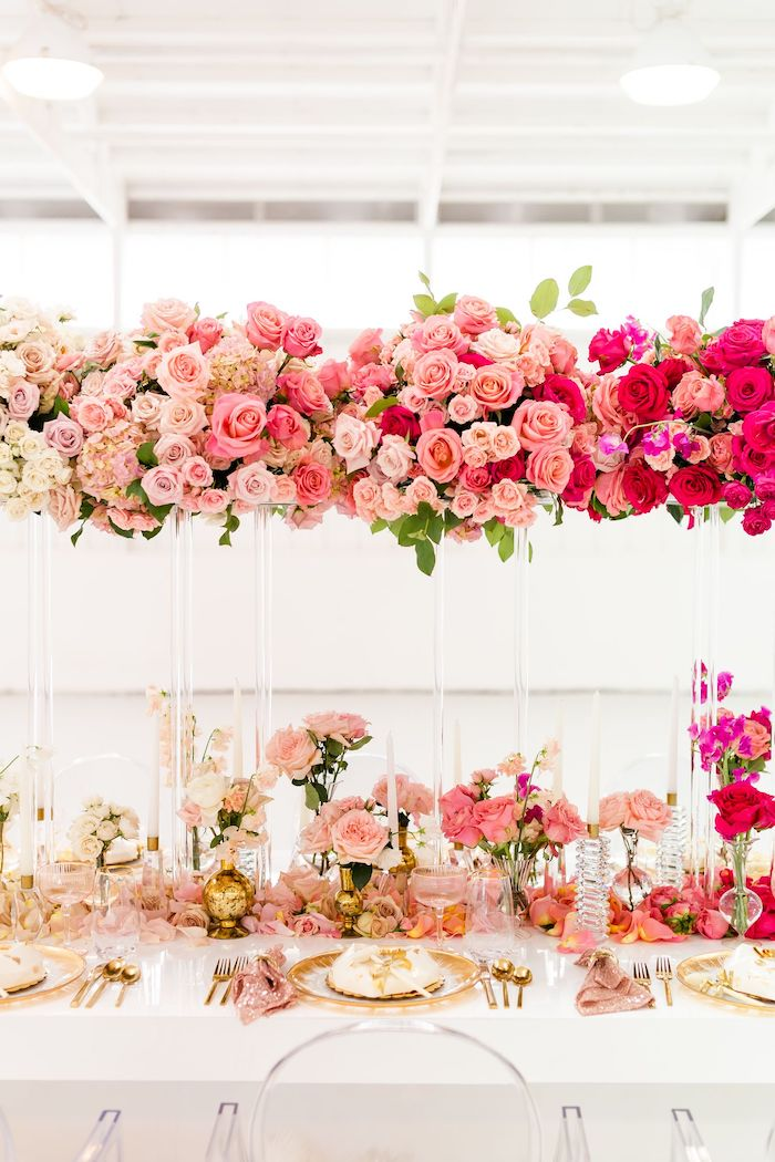 Glam Floral Guest Table from an Ombré Galentines on Kara's Party Ideas | KarasPartyIdeas.com (38)