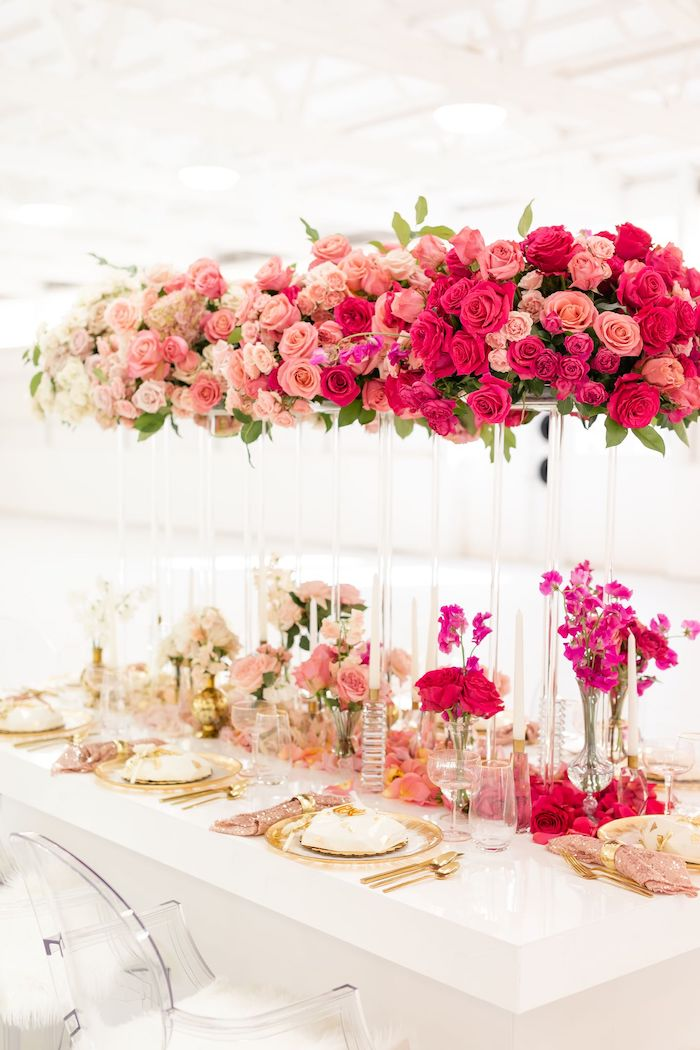 Floral Glam Guest Table from an Ombré Galentines on Kara's Party Ideas | KarasPartyIdeas.com (8)