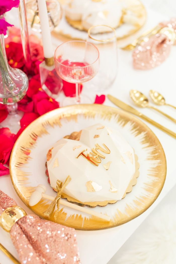 Marble Glam Table Setting from an Ombré Galentines on Kara's Party Ideas | KarasPartyIdeas.com (7)