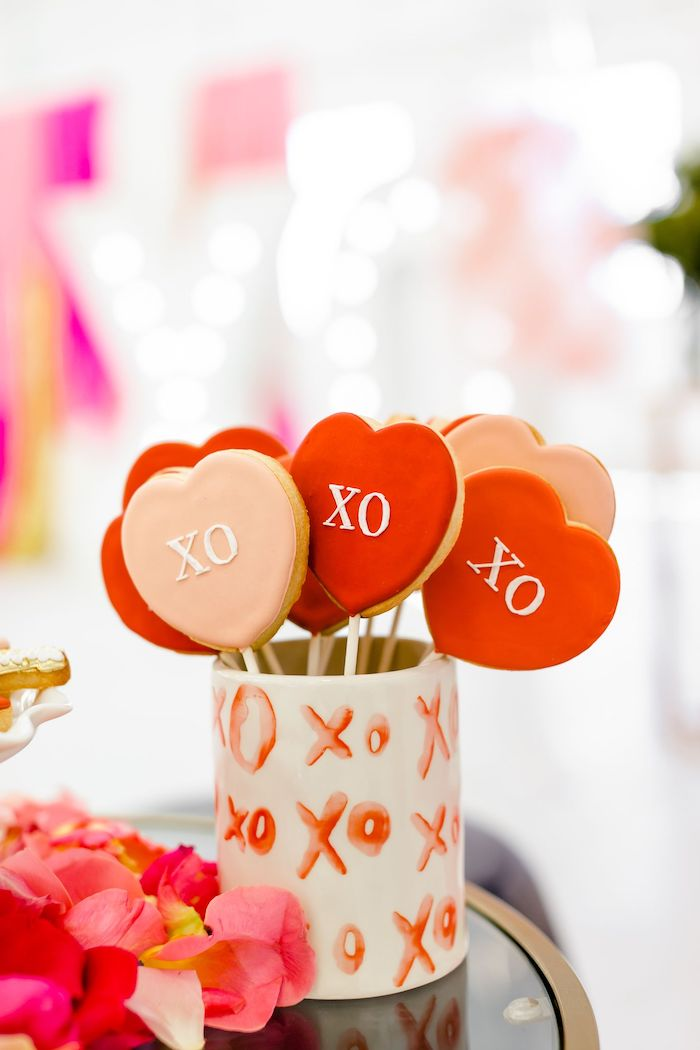 XO Heart Cookie Pops from an Ombré Galentines on Kara's Party Ideas | KarasPartyIdeas.com (6)