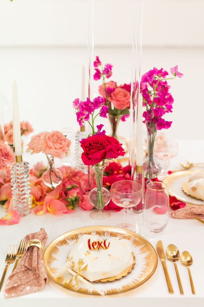 Floral Glam Table Setting from an Ombré Galentines on Kara's Party Ideas | KarasPartyIdeas.com (5)