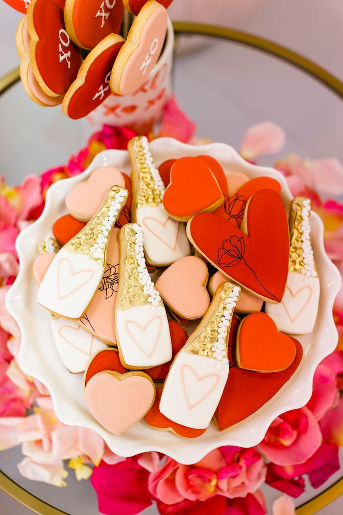Valentine Cookies from an Ombré Galentines on Kara's Party Ideas | KarasPartyIdeas.com (37)