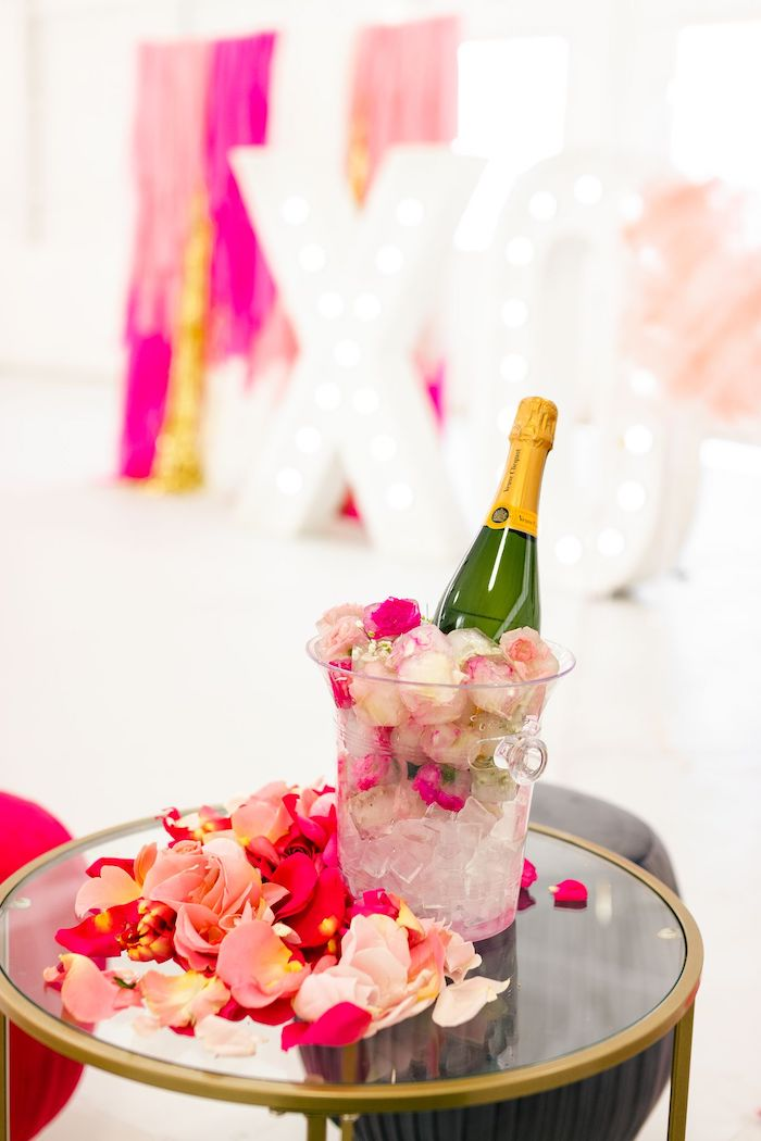 Bubbly from an Ombré Galentines on Kara's Party Ideas | KarasPartyIdeas.com (34)