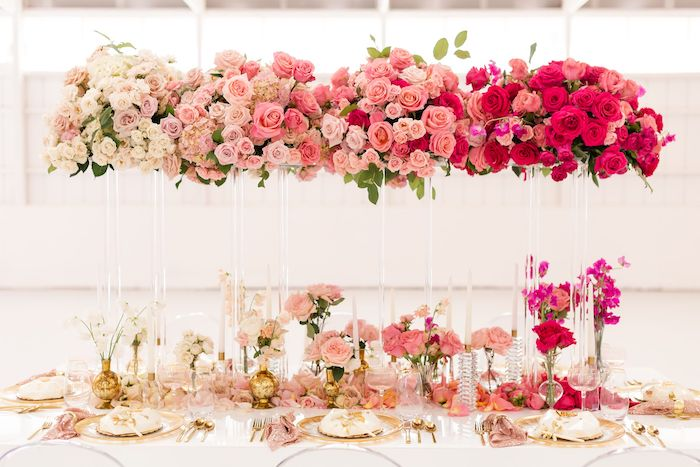 Floral Glam Guest Table from an Ombré Galentines on Kara's Party Ideas | KarasPartyIdeas.com (32)