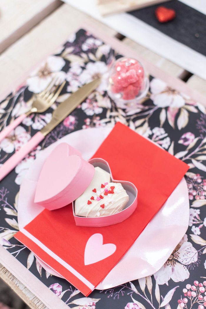 """Valentine's Day Party Table Setting from a Pink Cosmic """"Love You to the Moon"""" Valentine's Day Party on Kara's Party Ideas 