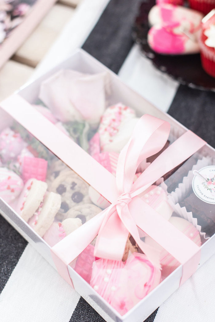 """Valentine's Day Dessert Box from a Pink Cosmic """"Love You to the Moon"""" Valentine's Day Party on Kara's Party Ideas 