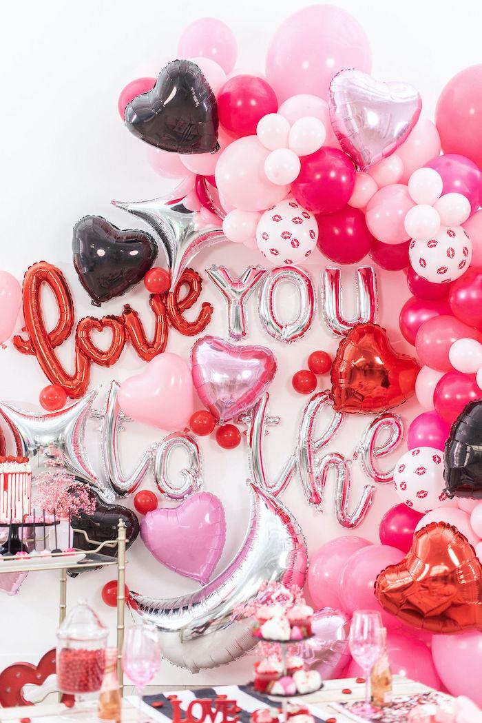 """Love You to the Moon"" Balloon Backdrop from a Pink Cosmic ""Love You to the Moon"" Valentine's Day Party on Kara's Party Ideas | KarasPartyIdeas.com (17)"