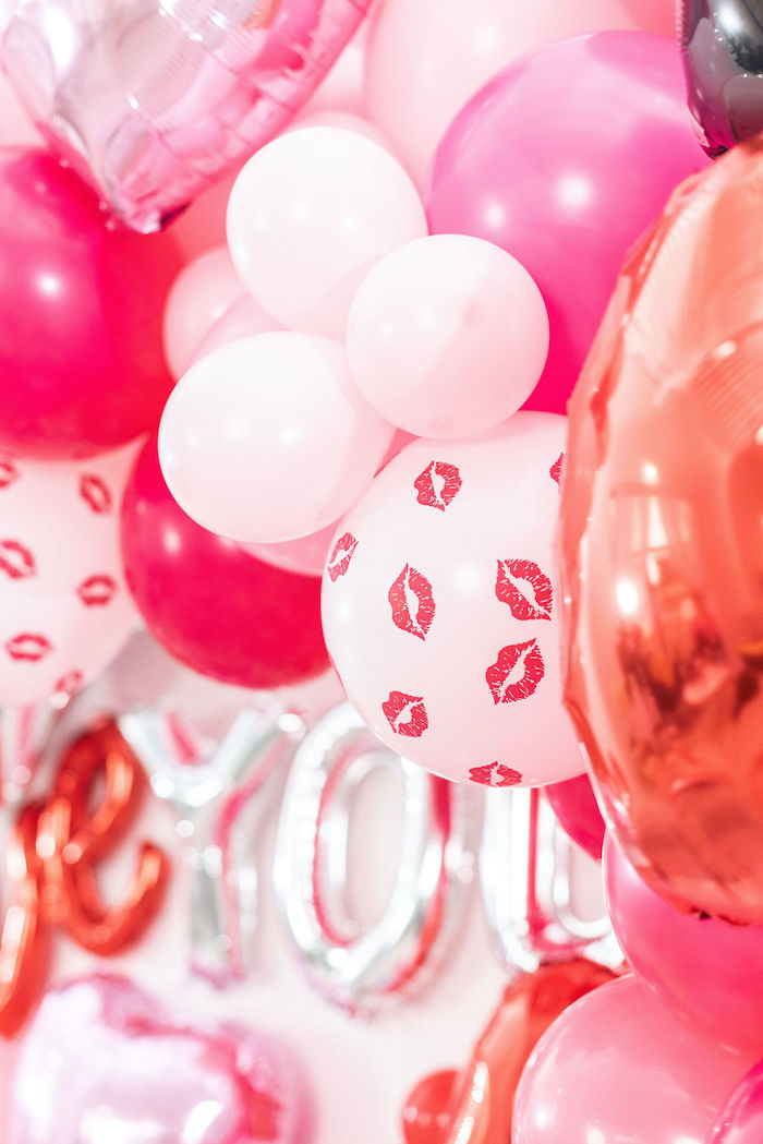 """Balloon Backdrop from a Pink Cosmic """"Love You to the Moon"""" Valentine's Day Party on Kara's Party Ideas 