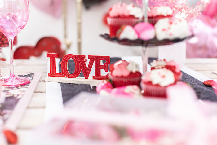 """LOVE Sign from a Pink Cosmic """"Love You to the Moon"""" Valentine's Day Party on Kara's Party Ideas 