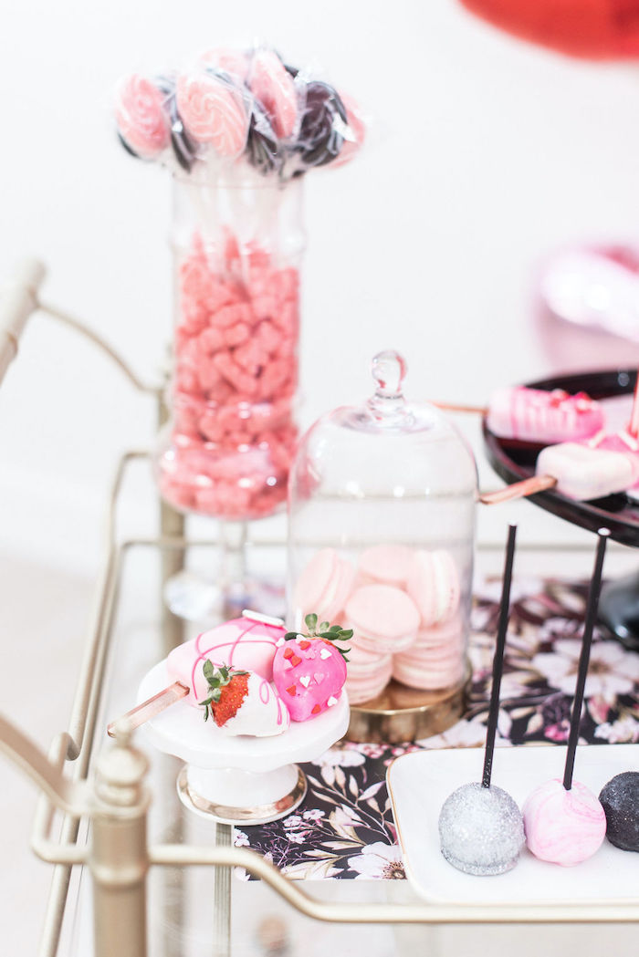 """Valentine's Day Sweet Table from a Pink Cosmic """"Love You to the Moon"""" Valentine's Day Party on Kara's Party Ideas 