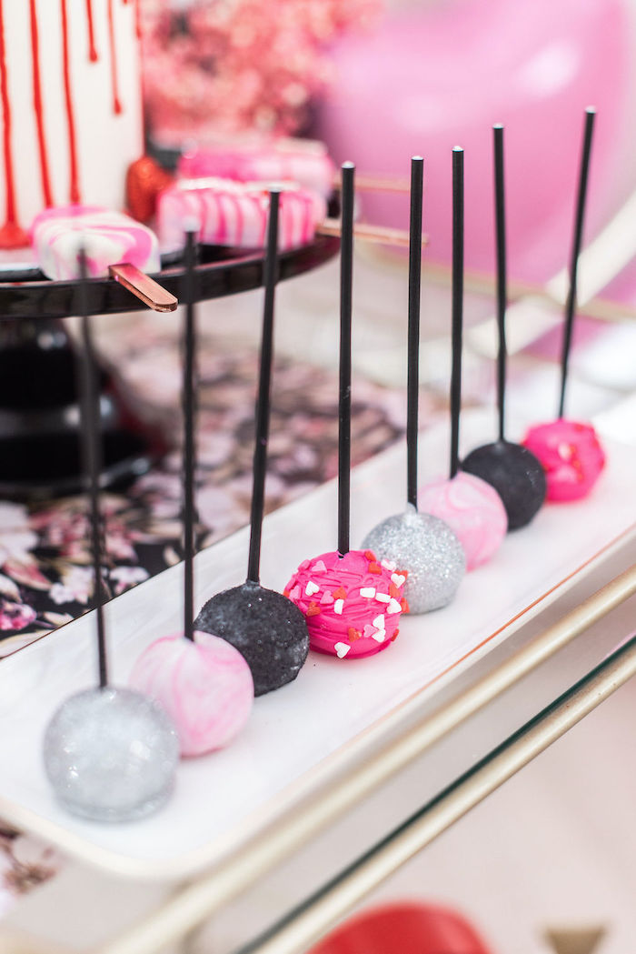 """Valentine Cake Pops from a Pink Cosmic """"Love You to the Moon"""" Valentine's Day Party on Kara's Party Ideas 