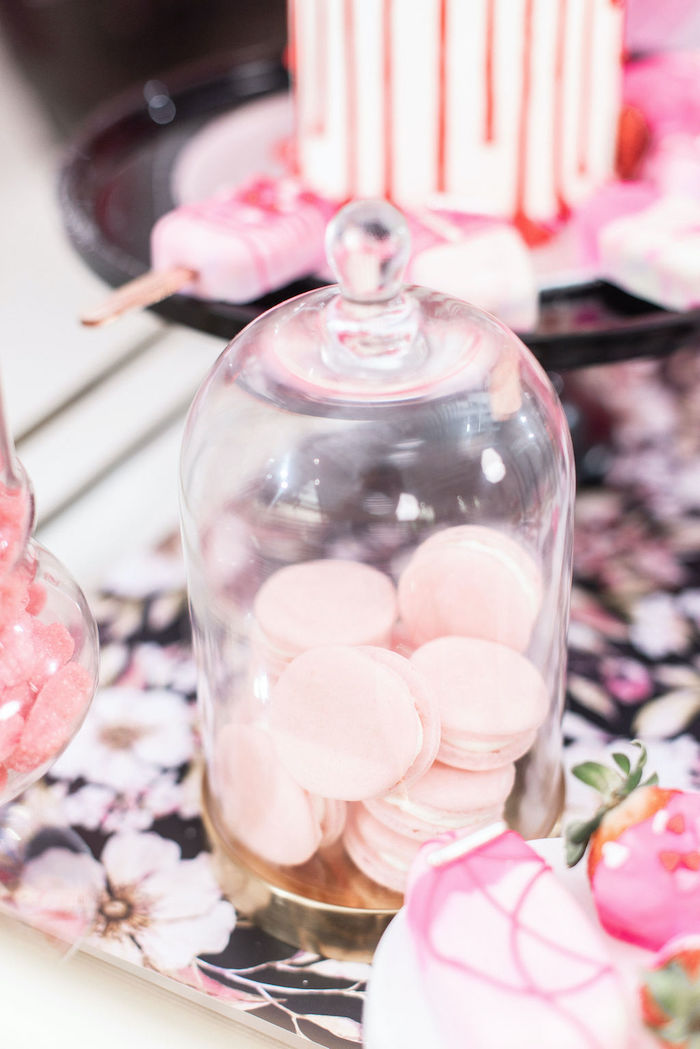 """Pink Macarons from a Pink Cosmic """"Love You to the Moon"""" Valentine's Day Party on Kara's Party Ideas 