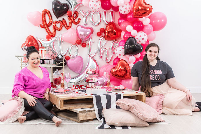 """Pink Cosmic """"Love You to the Moon"""" Valentine's Day Party on Kara's Party Ideas 
