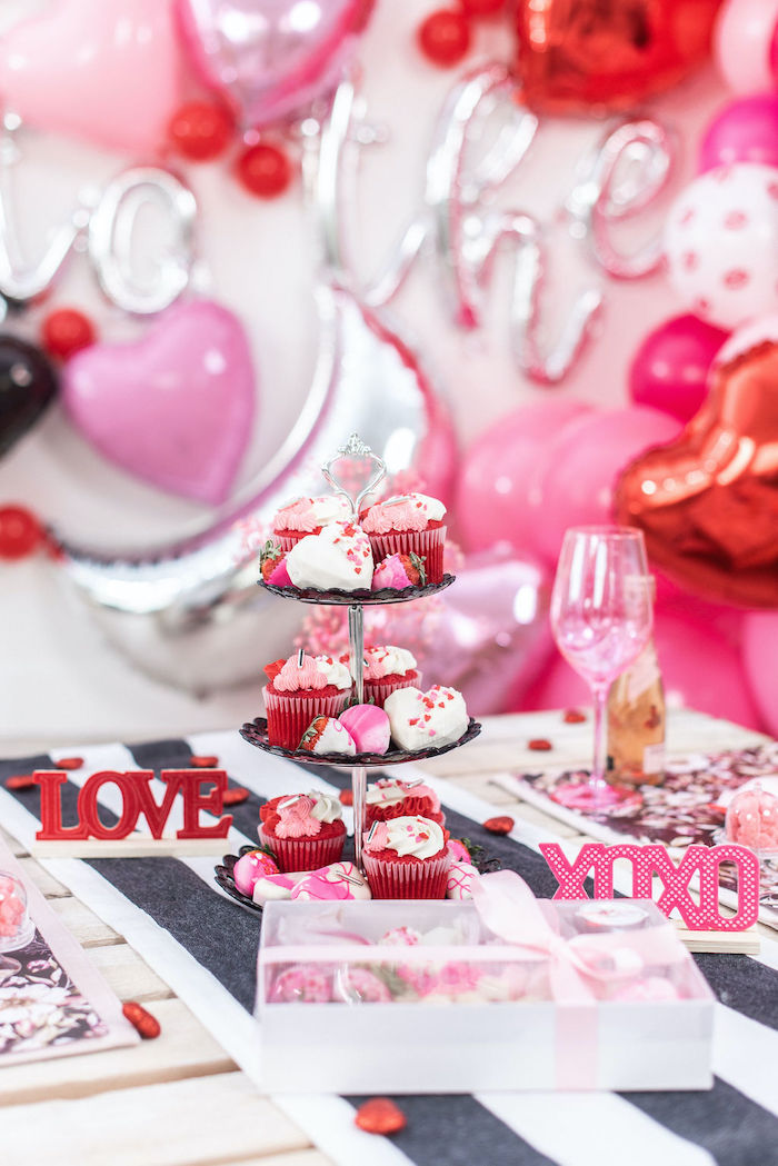 """Valentine's Day Party Table from a Pink Cosmic """"Love You to the Moon"""" Valentine's Day Party on Kara's Party Ideas 