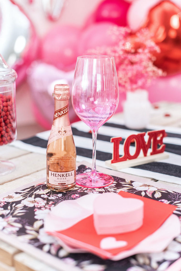 """Pink Wine Glass from a Pink Cosmic """"Love You to the Moon"""" Valentine's Day Party on Kara's Party Ideas 