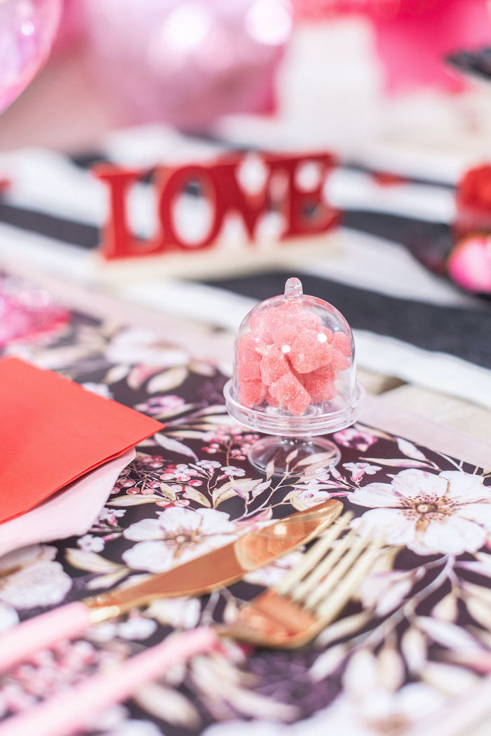 """Cloche Pedestal of Candy from a Pink Cosmic """"Love You to the Moon"""" Valentine's Day Party on Kara's Party Ideas 
