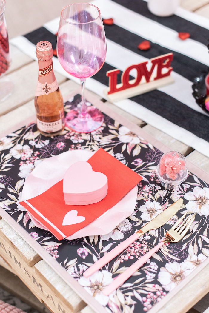 """Valentine Table Setting from a Pink Cosmic """"Love You to the Moon"""" Valentine's Day Party on Kara's Party Ideas 