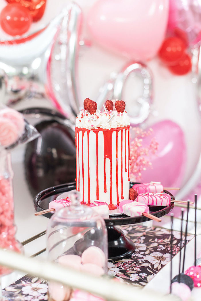 """Valentine Drip Cake from a Pink Cosmic """"Love You to the Moon"""" Valentine's Day Party on Kara's Party Ideas 