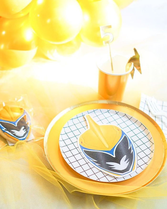 Gold Ranger Table Setting from a Power Rangers Birthday Party on Kara's Party Ideas | KarasPartyIdeas.com (16)