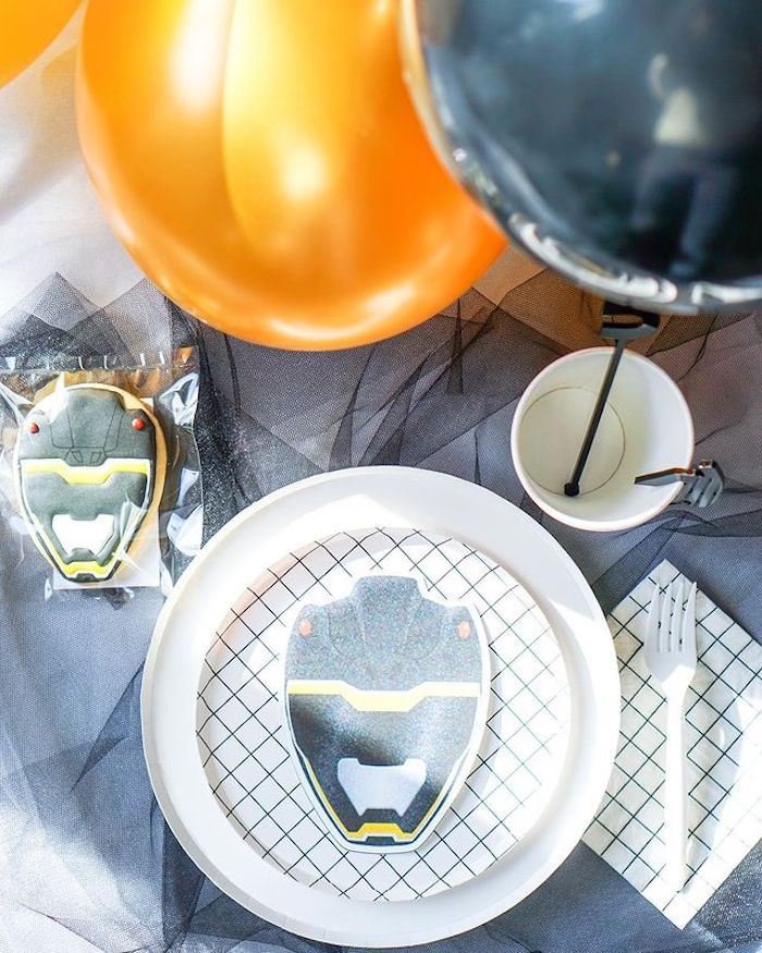 Black & Gold Ranger Table Setting from a Power Rangers Birthday Party on Kara's Party Ideas | KarasPartyIdeas.com (15)