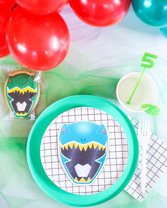 Green Ranger Table Setting from a Power Rangers Birthday Party on Kara's Party Ideas | KarasPartyIdeas.com (13)
