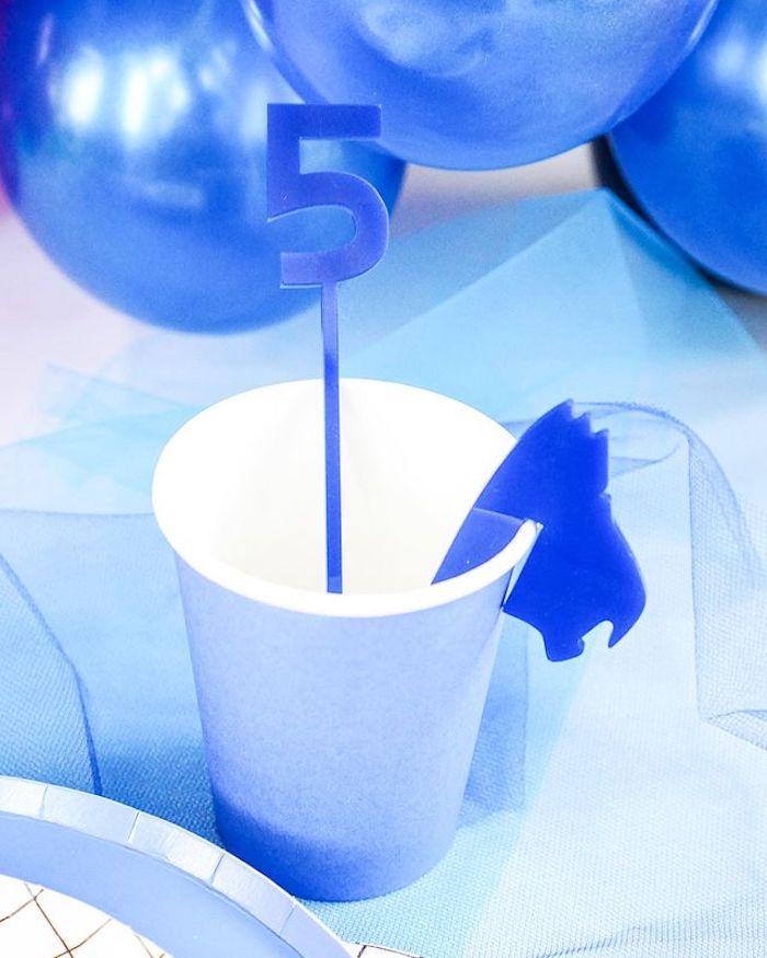 Blue Ranger Cup from a Power Rangers Birthday Party on Kara's Party Ideas   KarasPartyIdeas.com (8)