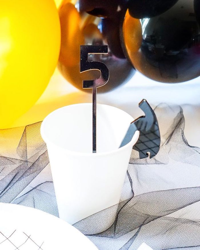 Black & Gold Ranger Cup from a Power Rangers Birthday Party on Kara's Party Ideas | KarasPartyIdeas.com (25)