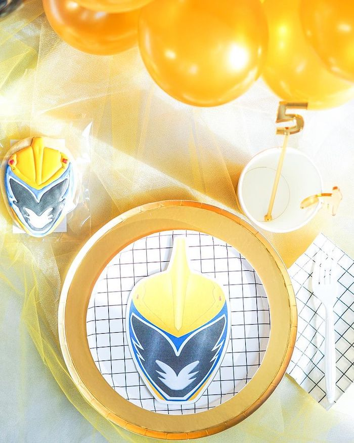 Gold Ranger Table Setting from a Power Rangers Birthday Party on Kara's Party Ideas | KarasPartyIdeas.com (22)
